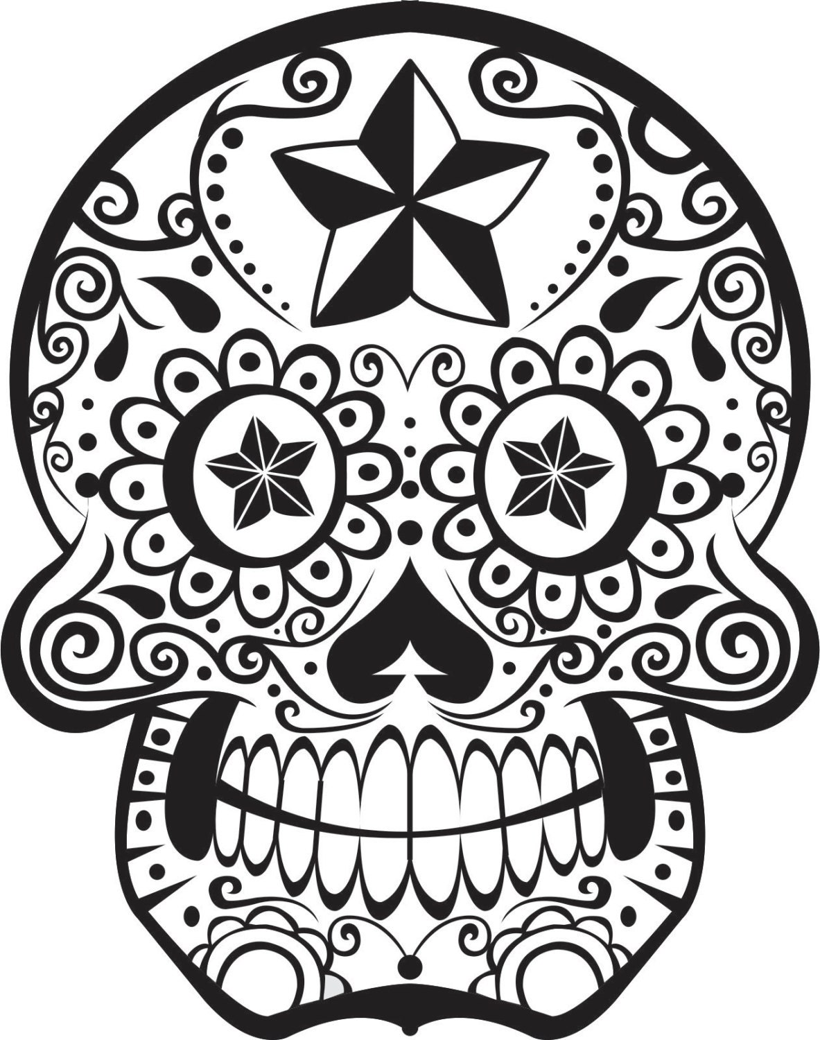 Sugar skull wall vinyl decal sticker art graphic by boopdecals Coloring book vinyl