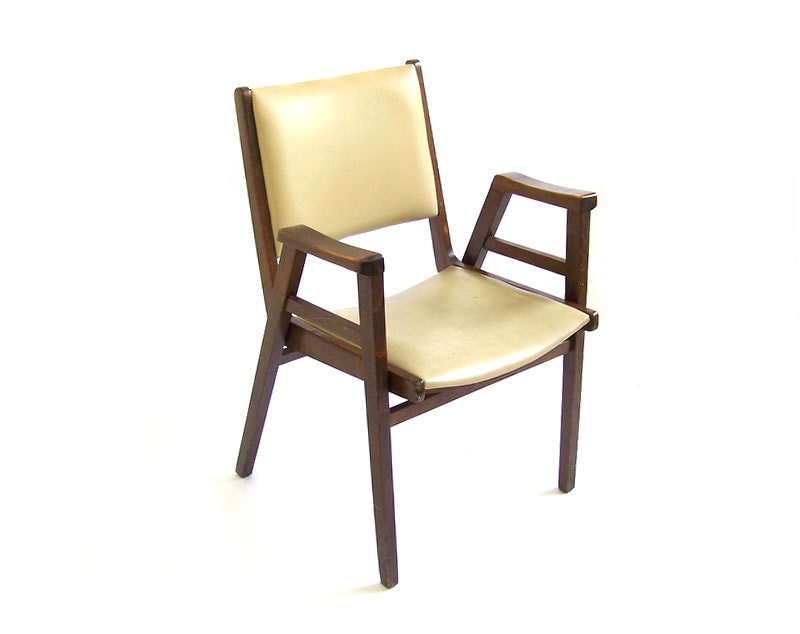 Vintage vinyl chair office lounge occasional accent armchair walnut