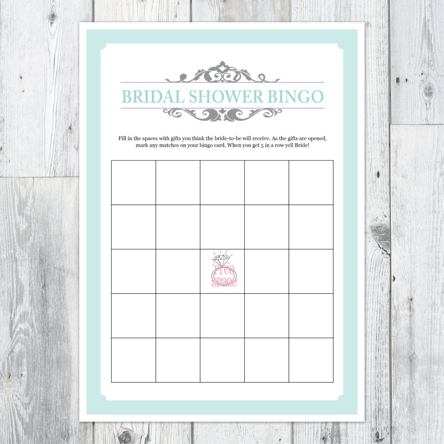 Effortless image throughout bridal shower bingo printable