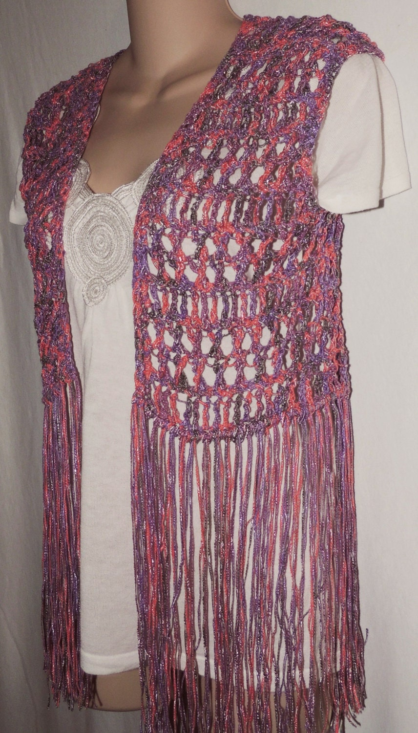 PDF Crochet Pattern for Long Fringe Vest, or Swimsuit Cover. 3 Sizes.