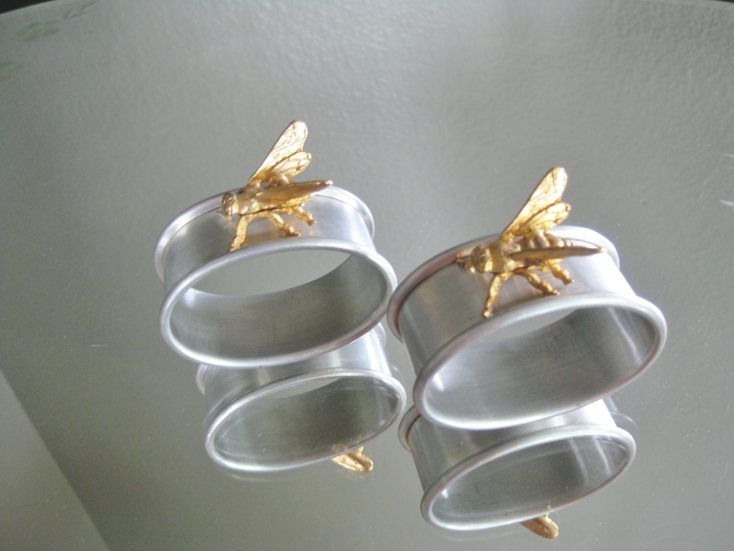 vintage gold and silver bee napkin rings by msviciousdesign