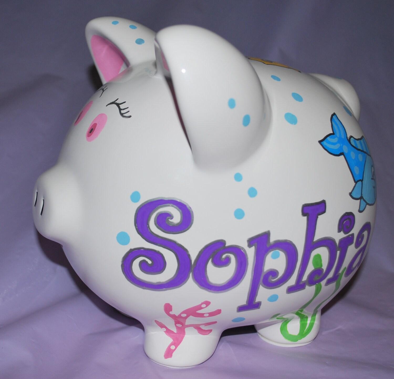 Piggy Bank Large Ceramic Pastel Ocean Hand By Confettigiftsbyg