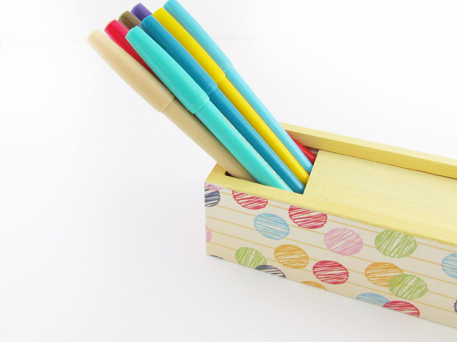 Polka Dotted Scribbles Craft Art Supply Box by Walter Silva