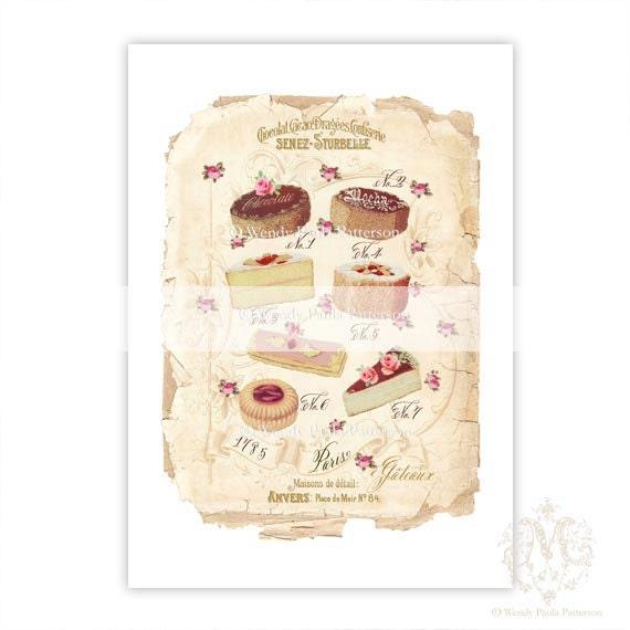 Items Similar To French Cakes Kitchen Art Art Print