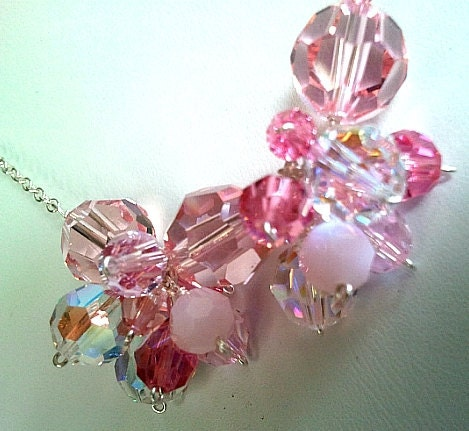 Spring Collection Pink Silver Necklace & Earrings Set - Bridal Gift, Jewelry Gift, Friend Gift