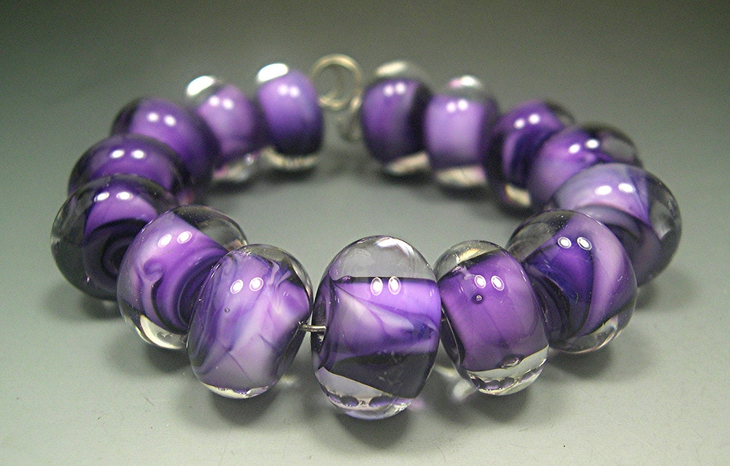 HANDMADE LAMPWORK GLASS Bead Spacer Set 15 beads Donna Millard  ice winter lamp work purple