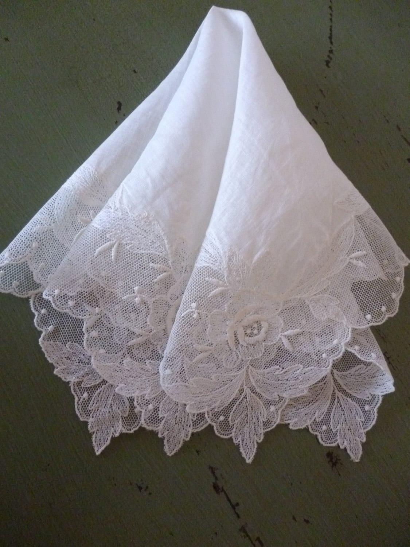 Beautiful Vintage Lace Wedding Handkerchief By PamelaMurphyVintage
