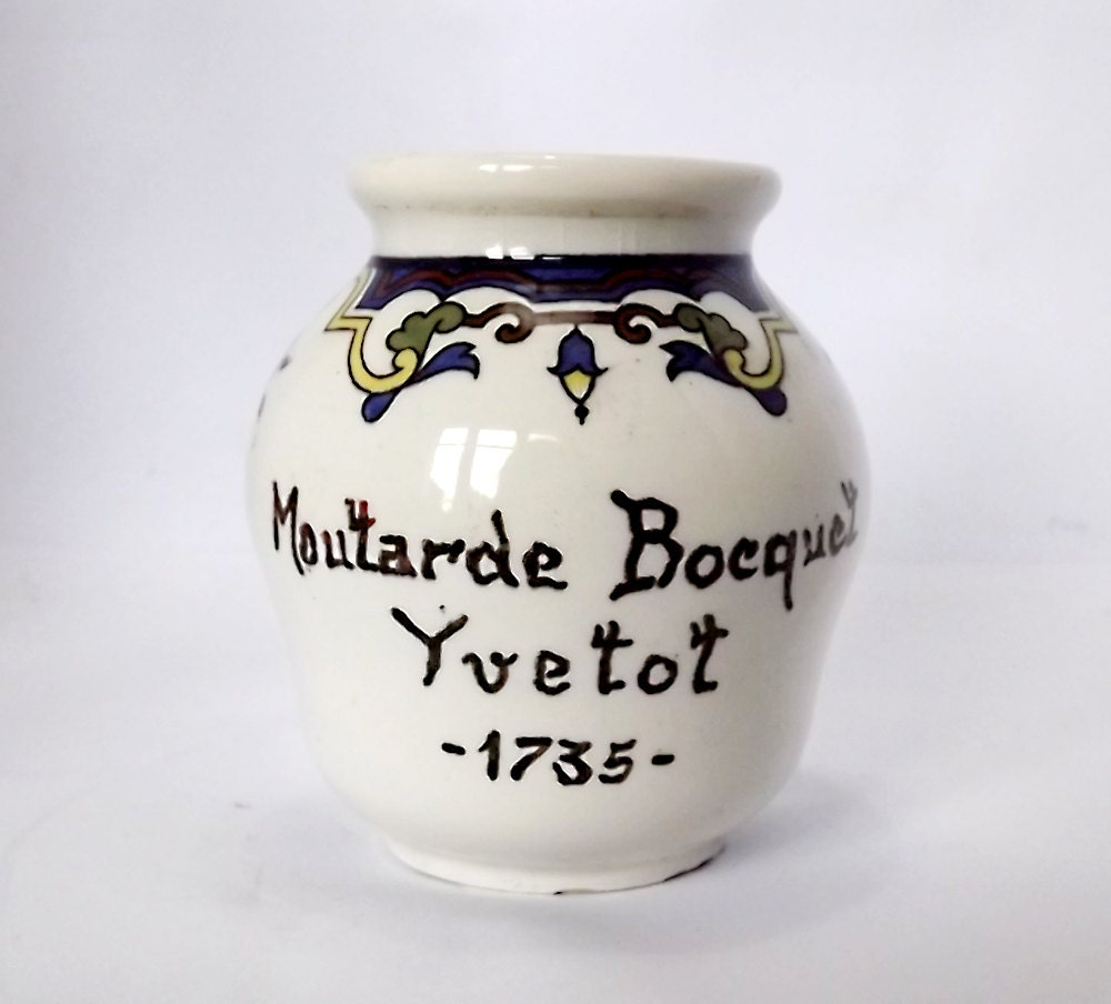 French vintage mustard pot moutarde bocquet yvetot by for Decoration yvetot