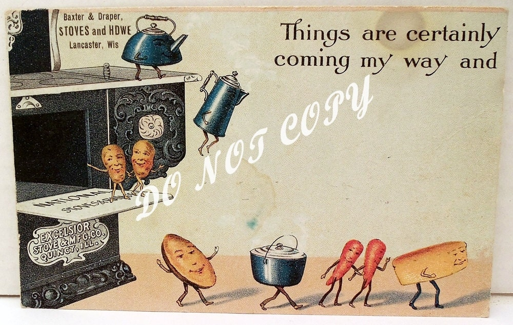 Postcard Excelsior Parlor Stove Cas t Iron Advertising Vintage Lutz