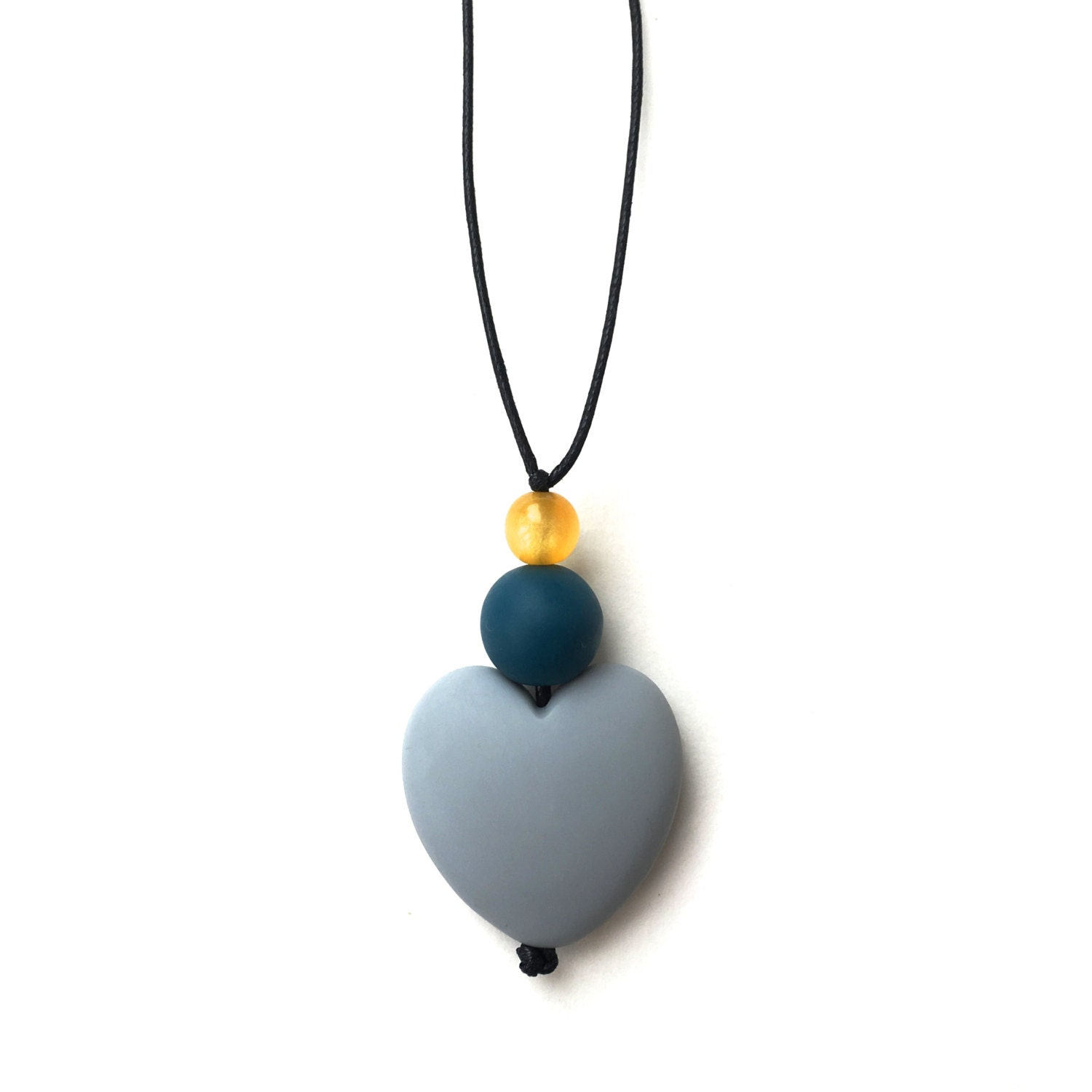 Breastfeeding Necklace  Nursing Necklace  Nursing Beads  Aphrodite Resin Heart  Grey Teal Yellow