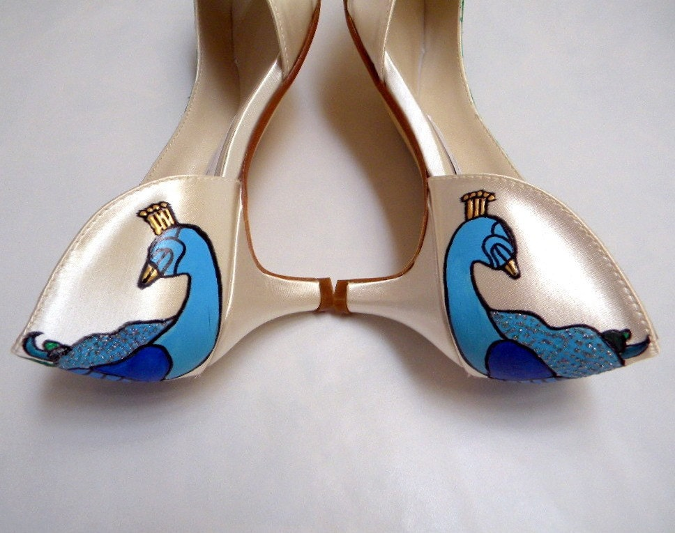 Wedding Shoes painted peacock medium heel ABBY IVORY From norakaren
