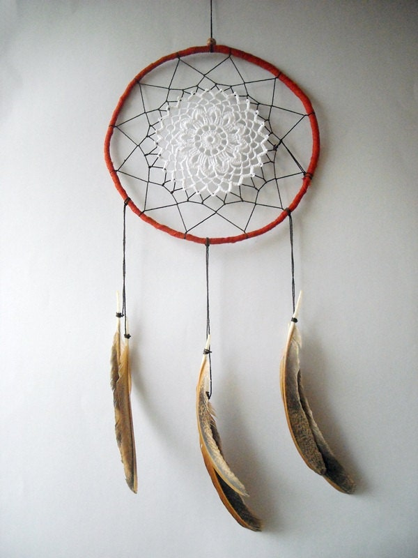 Dream catcher crochet doily wall decoration rust, brown, white, fall dreamcatcher, medium - wincsike