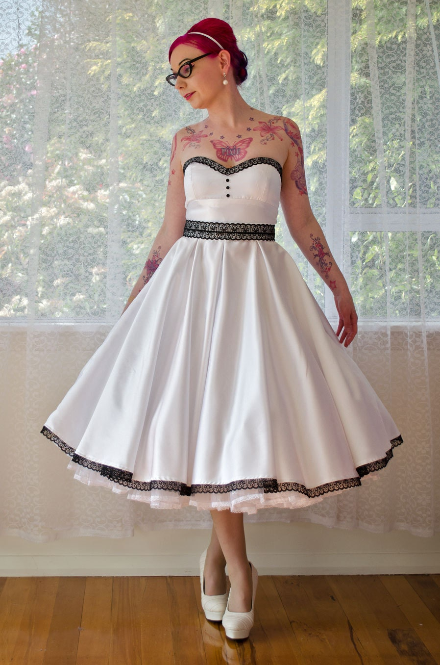 1950s 39 Rose 39 Pin Up Strapless Wedding Dress With By PixiePocket