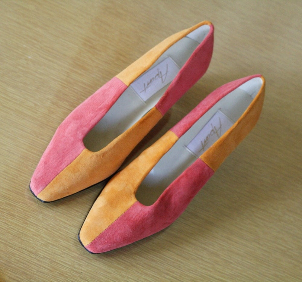 1980s colorblock orange coral pink shoes size 7 by