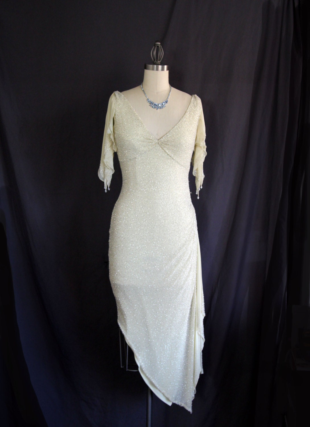 Asymmetrical Ice Queen Silver and Pearl Glass Beaded Evening Dress in Ivory White // Vintage - TheCheshireBox