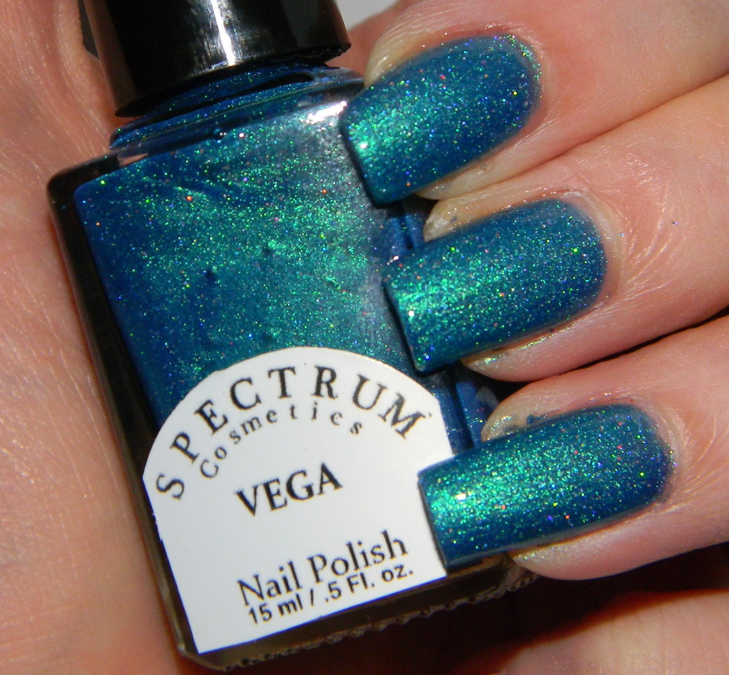 Teal Duochrome with Holographic Glitter nail Polish VEGA