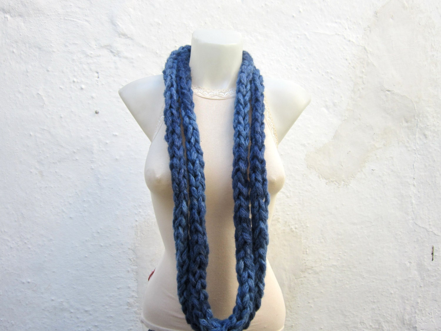 items similar to infinity scarf finger knitting scarf