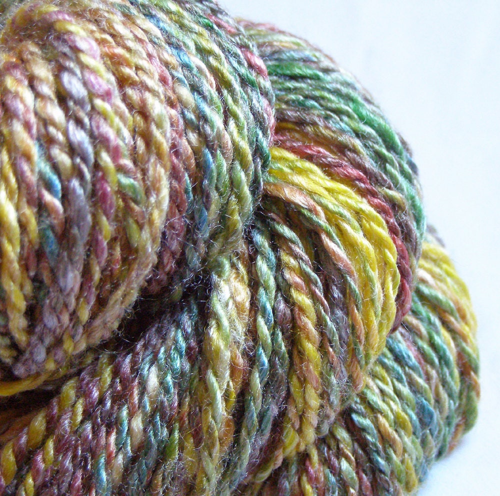 Bamboo Yarn : Marbled Candy HANDSPUN Wool and Bamboo Yarn 74 by ATMosphereArts