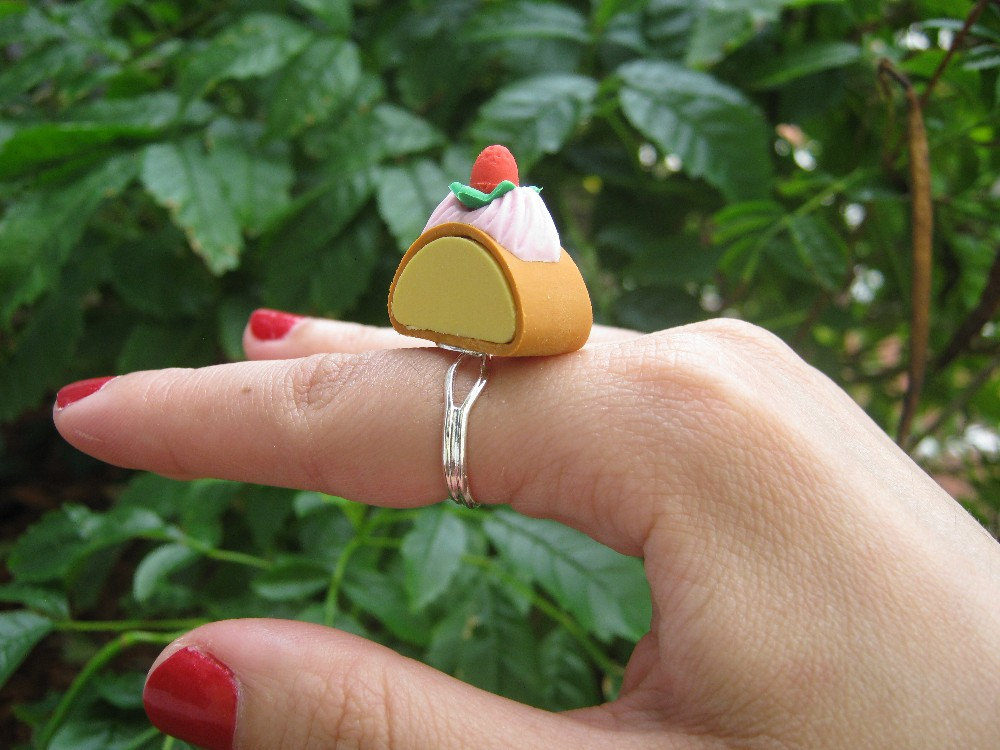 Strawberry and Whipped Cream Pound Cake Eraser Ring by PinkFrog4U from etsy.com