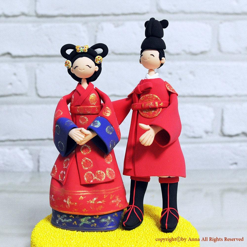 Items Similar To Korean Chinese Traditional Custom Wedding Cake Topper Keepsake Decoration On Etsy