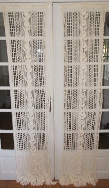French Door Crochet Lace Curtains Antique White By