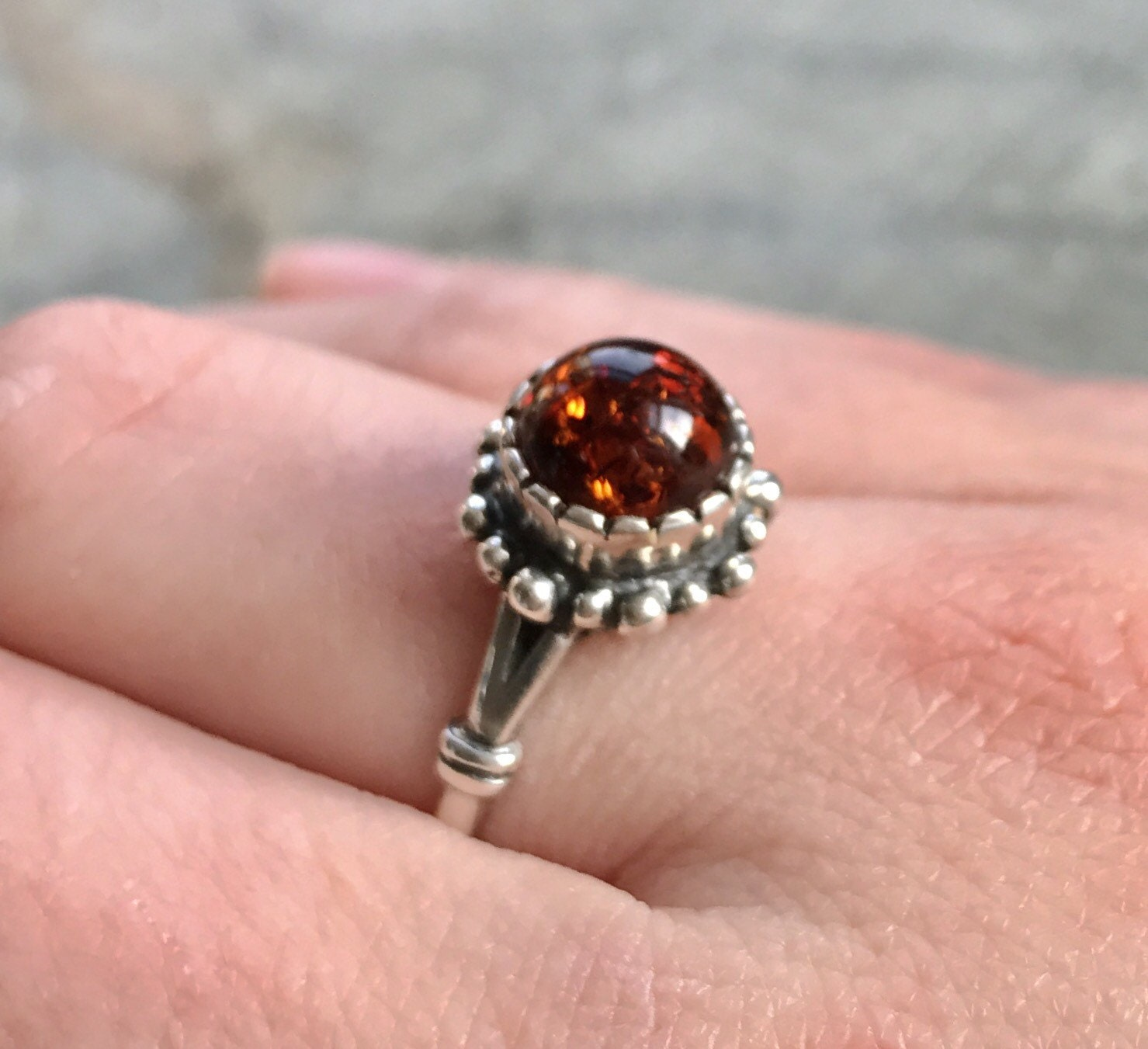 Amber Ring Natural Amber Vintage Rings Antique Rings Taurus Birthstone Amber Healing Yellow Gemstone Solid Silver Ring Pure Silver