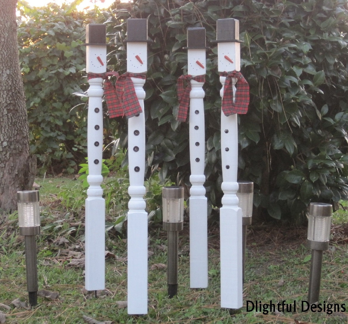 Christmas Snowman Outdoor Decoration Stake Wooden Spindle Country ...