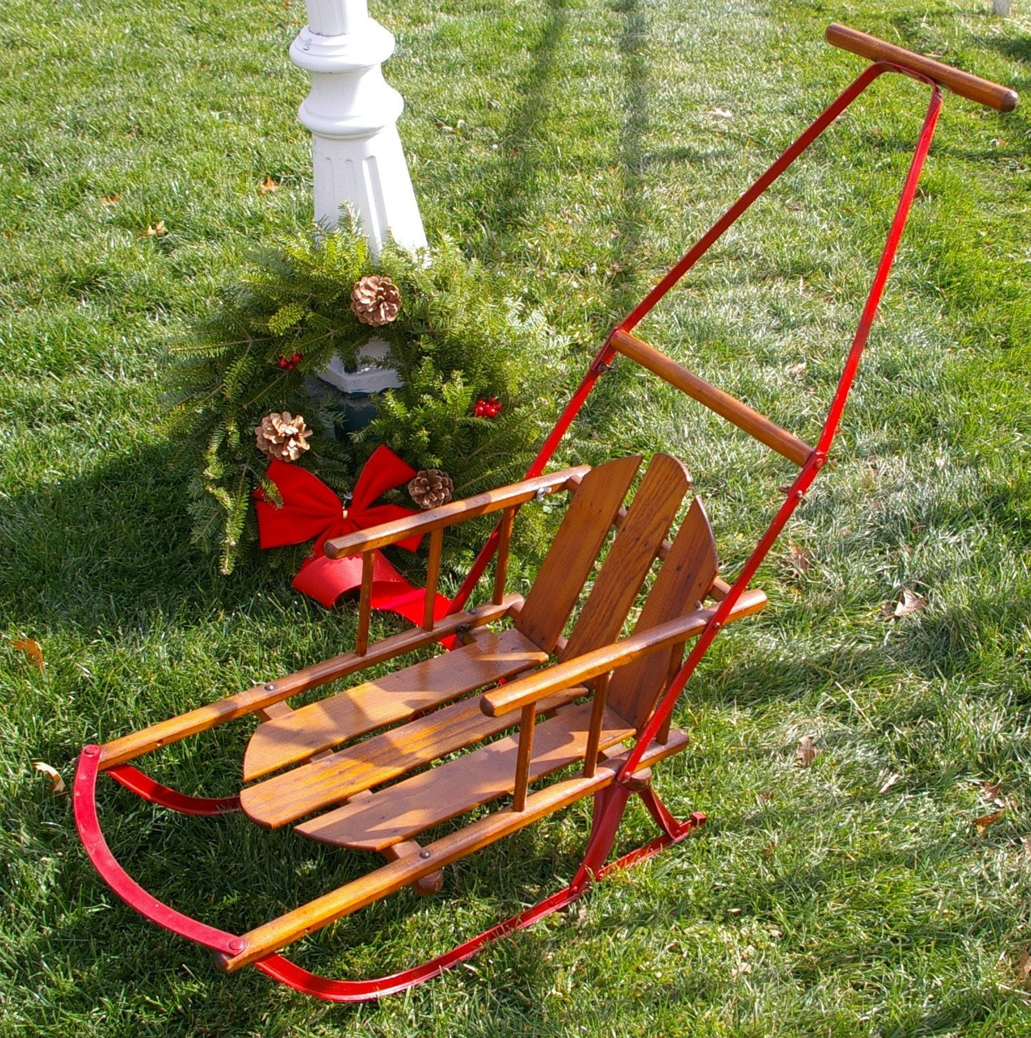 Antique childs push sled or christmas decoration by for Antique sled decoration