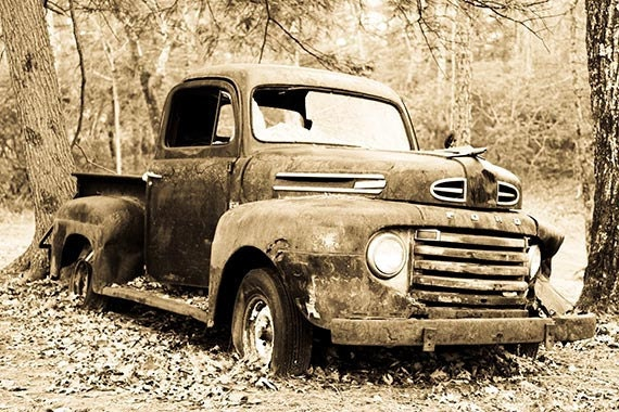 Old Sepia Toned Print Of Ford F 1 Truck Fine By