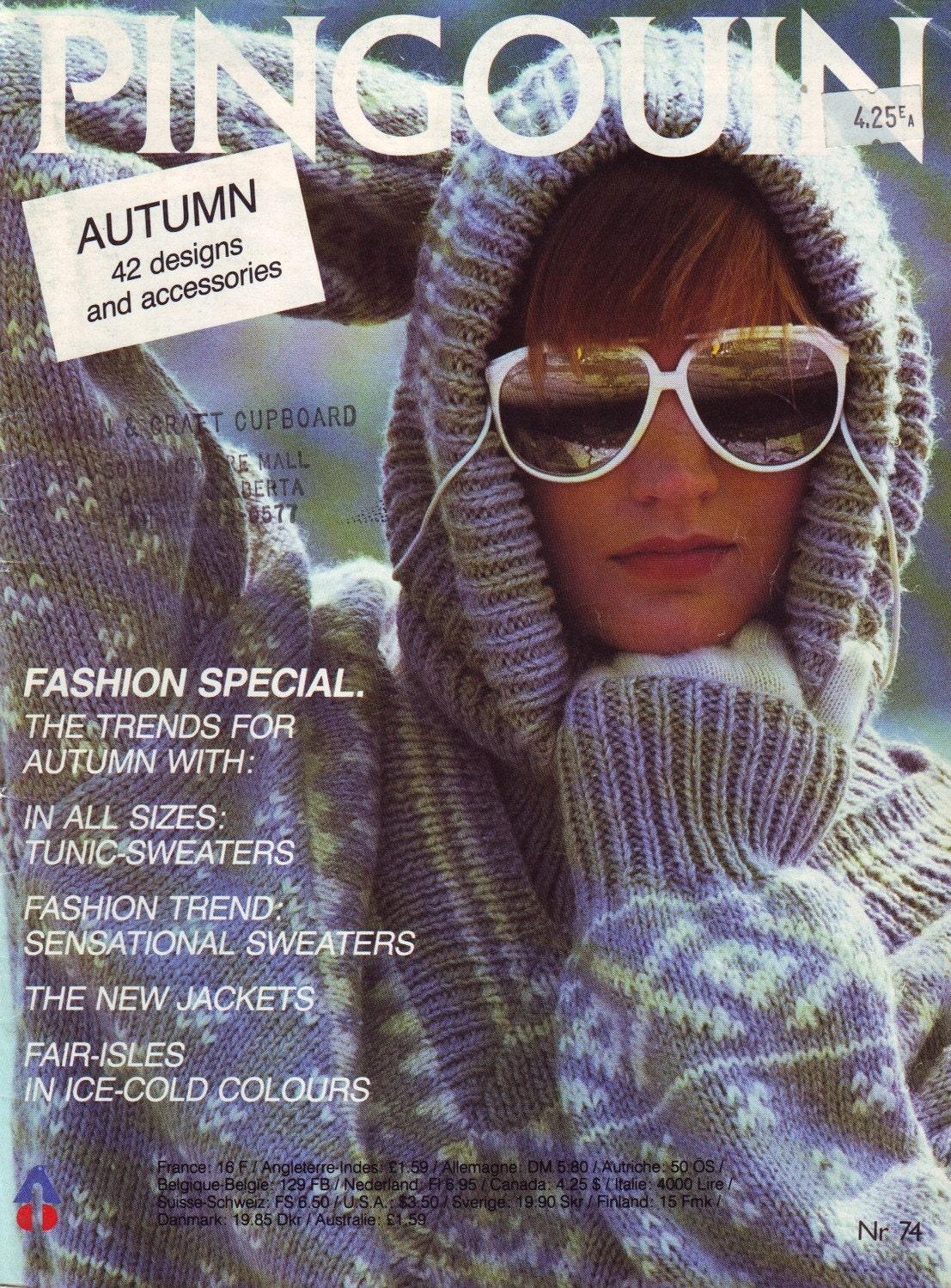 Pingouin Knitting Pattern Books : pingouin 74 vintage 80s knitting pattern book by vintagevice