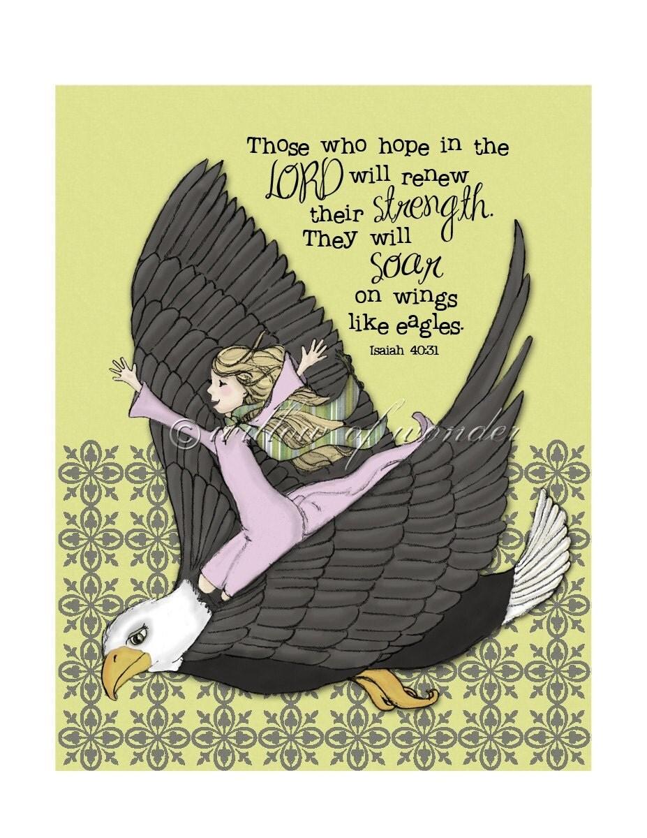 Isaiah - On Eagle's Wings - scripture art print