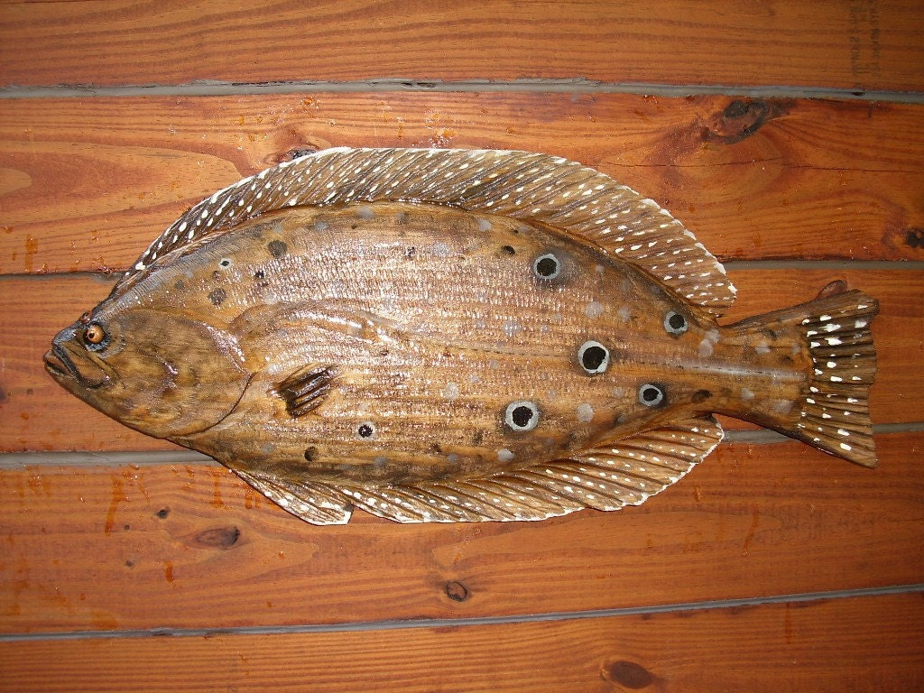 Flounder inch chainsaw wood fish carving art by oceanarts