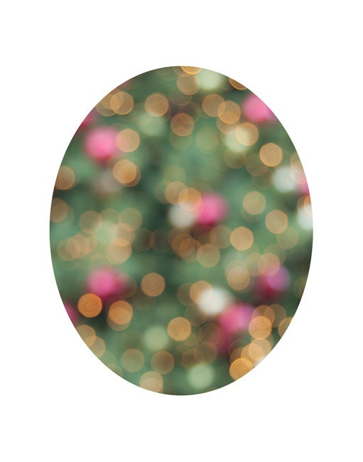 Fesitive Holiday Decor, Fine Art Christmas Tree Photo, Oval Photo, White, Green, Cranberry, Gold, Fine Art Photography Print - TheShutterbugEye