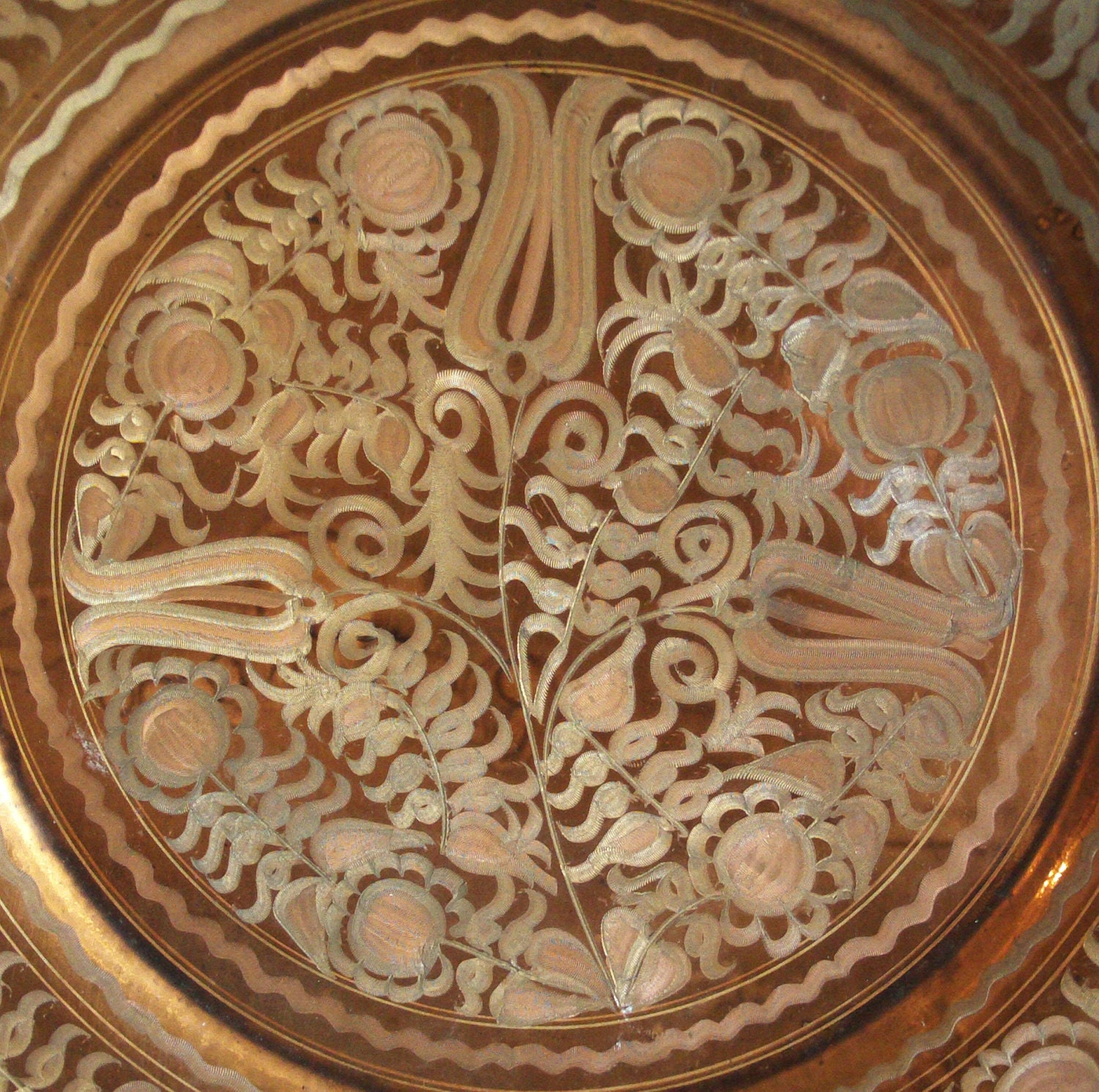 Decorative Wall Plates Nz : Vintage copper plate wall hanging etched folk by