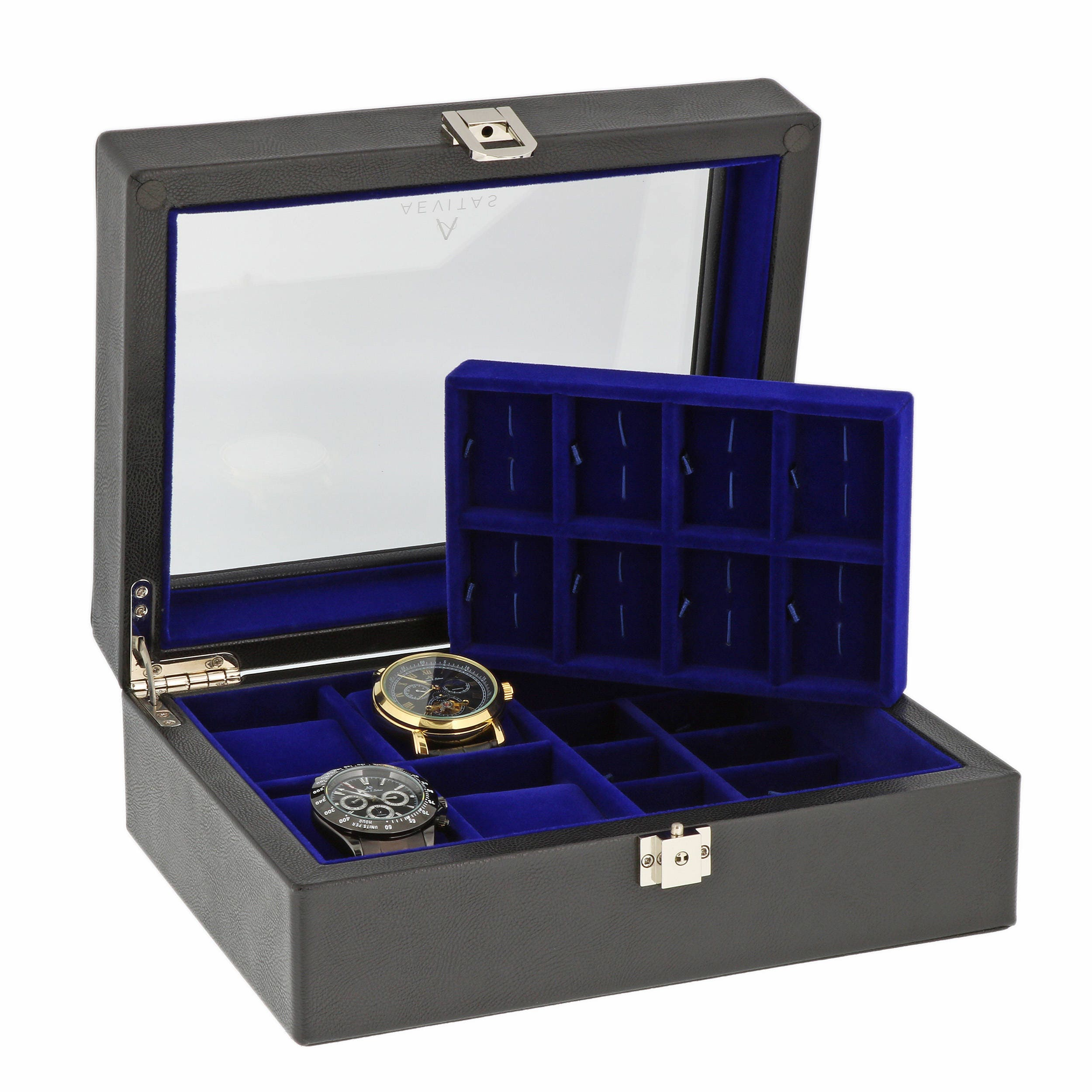 Black GENUINE LEATHER 4 watch  16 Pair Cufflinks Collectors Box with Royal Blue velvet lining by Aevitas