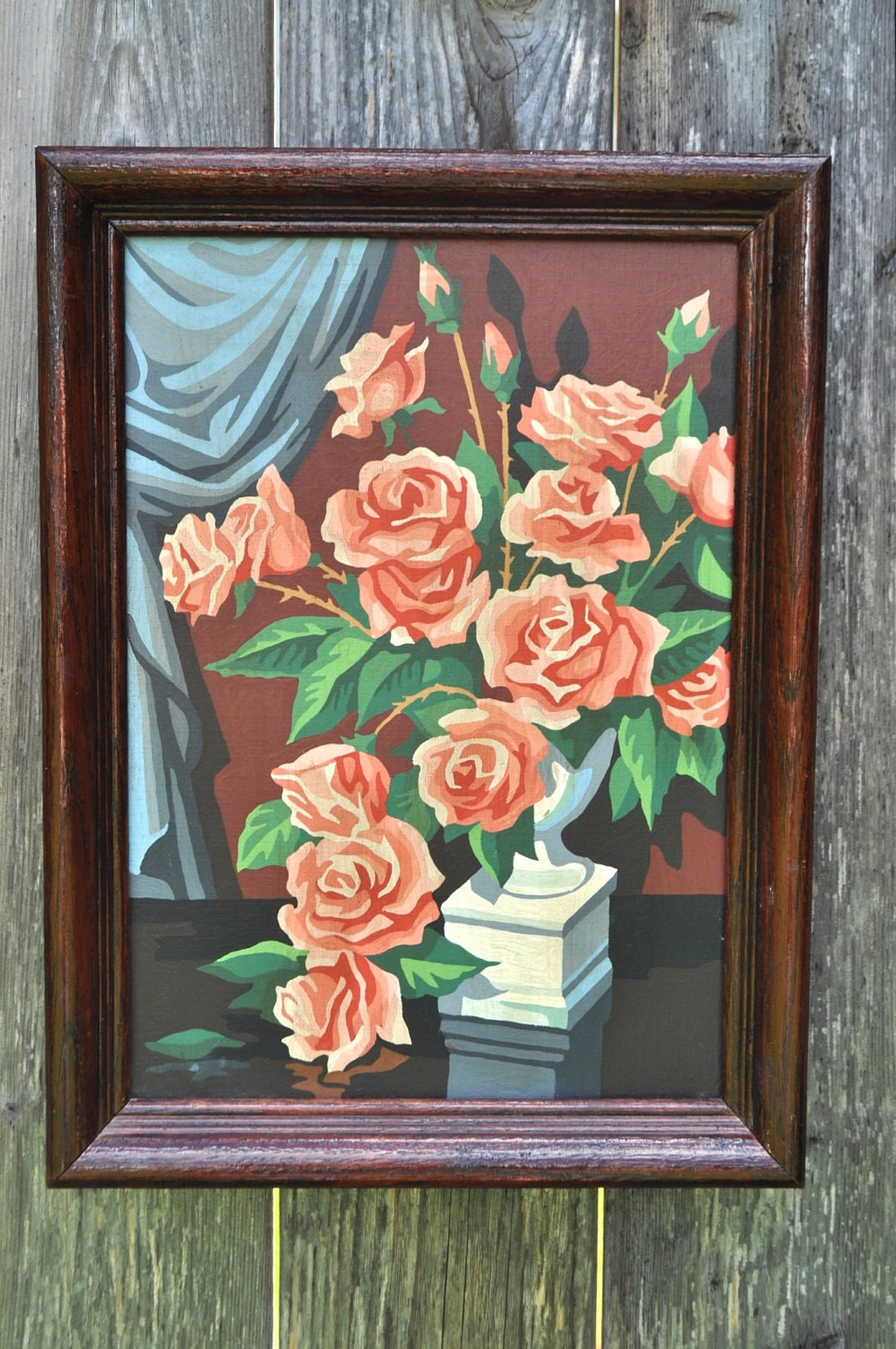 Vintage Paint by Number of Roses
