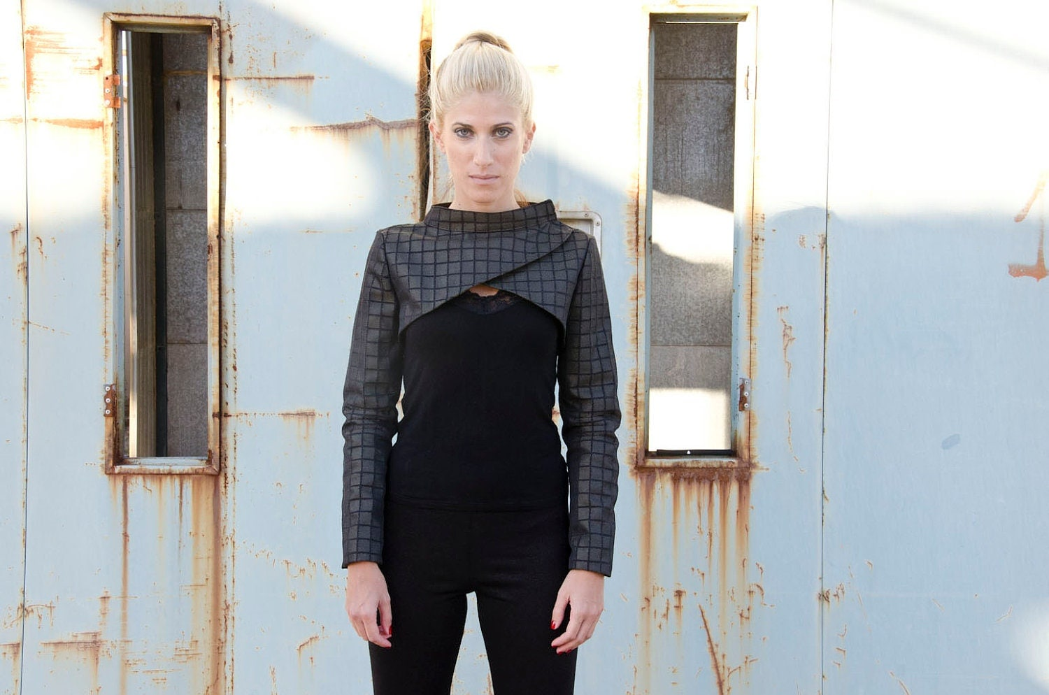Black Gold Bolero, Futuristic Cropped Jacket - karmologyclinic