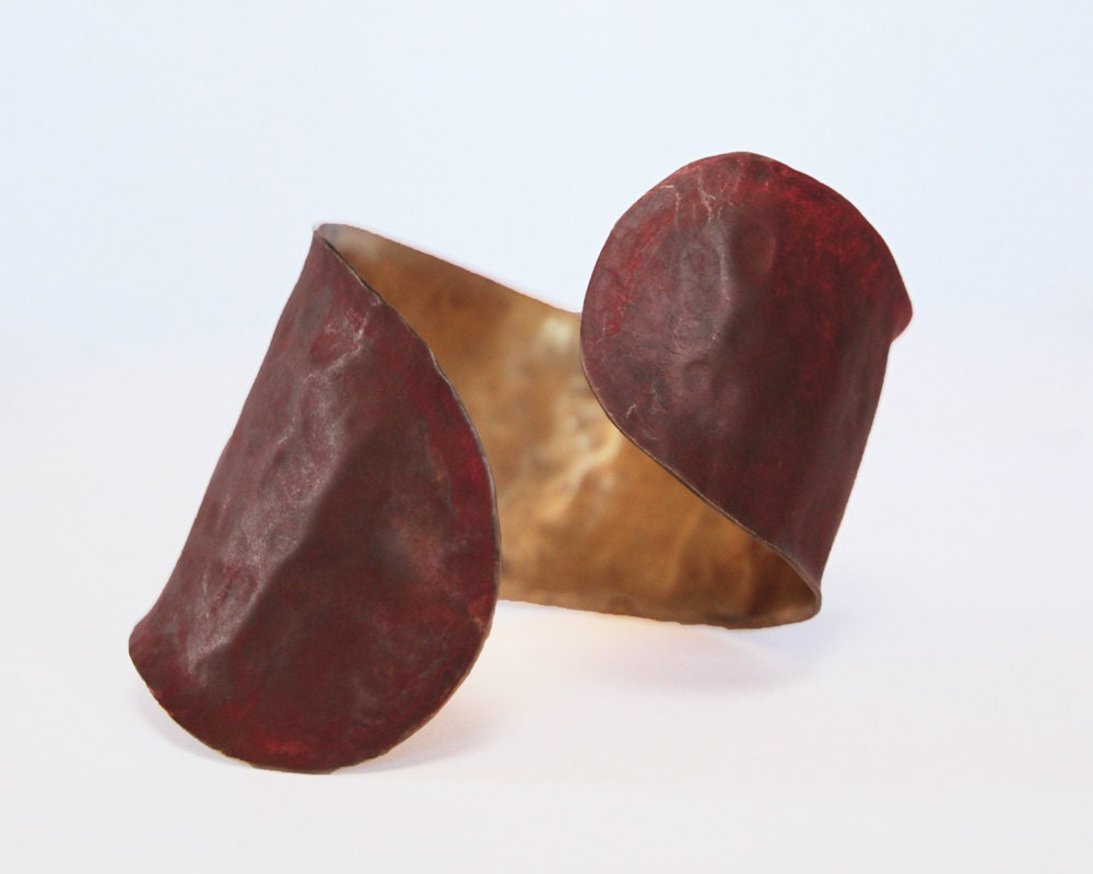 Boho Chic San Francisco Cuff - A Truly Unique Hammered Patina Curved Cuff with Delicate, Unique Lines - amywaltz