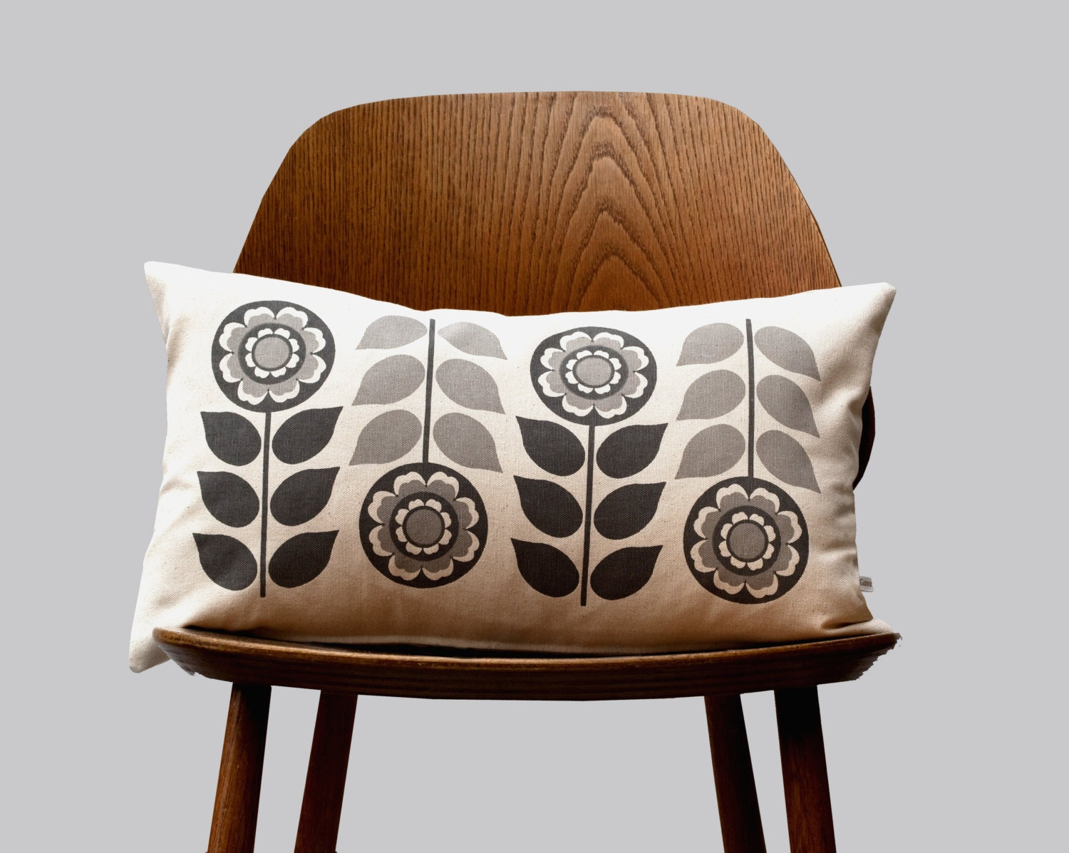 Scandinavian Retro flower 1970 grey folk Cushion Cover by Gunna Ydri - gunnaydri