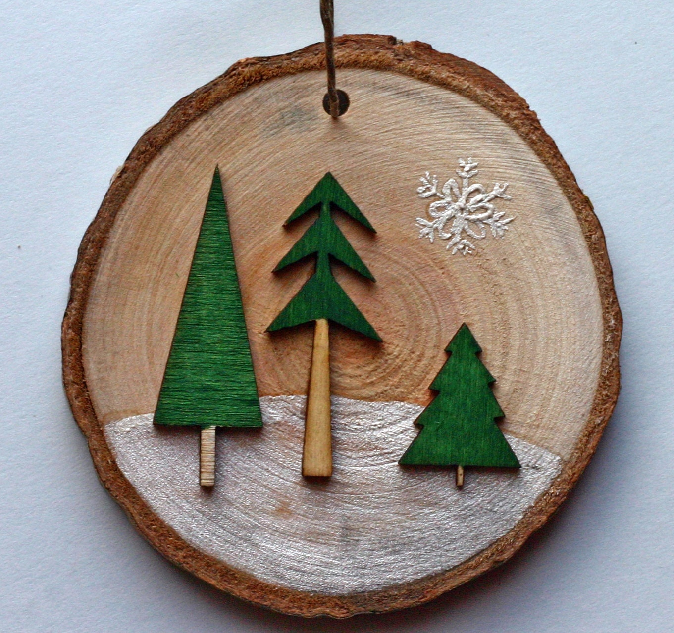 Winter scene on birch wood birch tree slice, green trees in snow, woods, natural, ornament, green and brown, snow, three dimensional - DeborahMcGeeArt