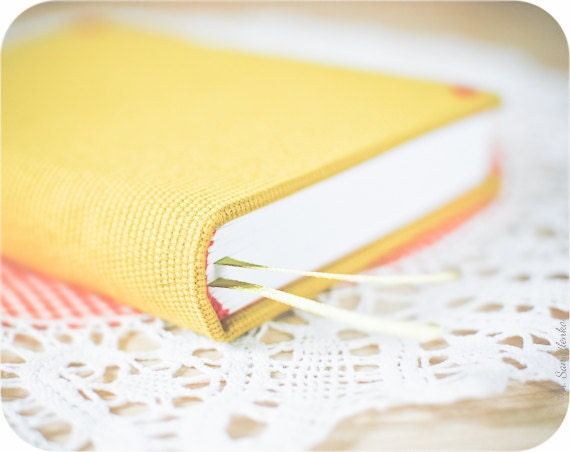 Yellow covered medium handmade notebook (diary, journal) - Buntmal