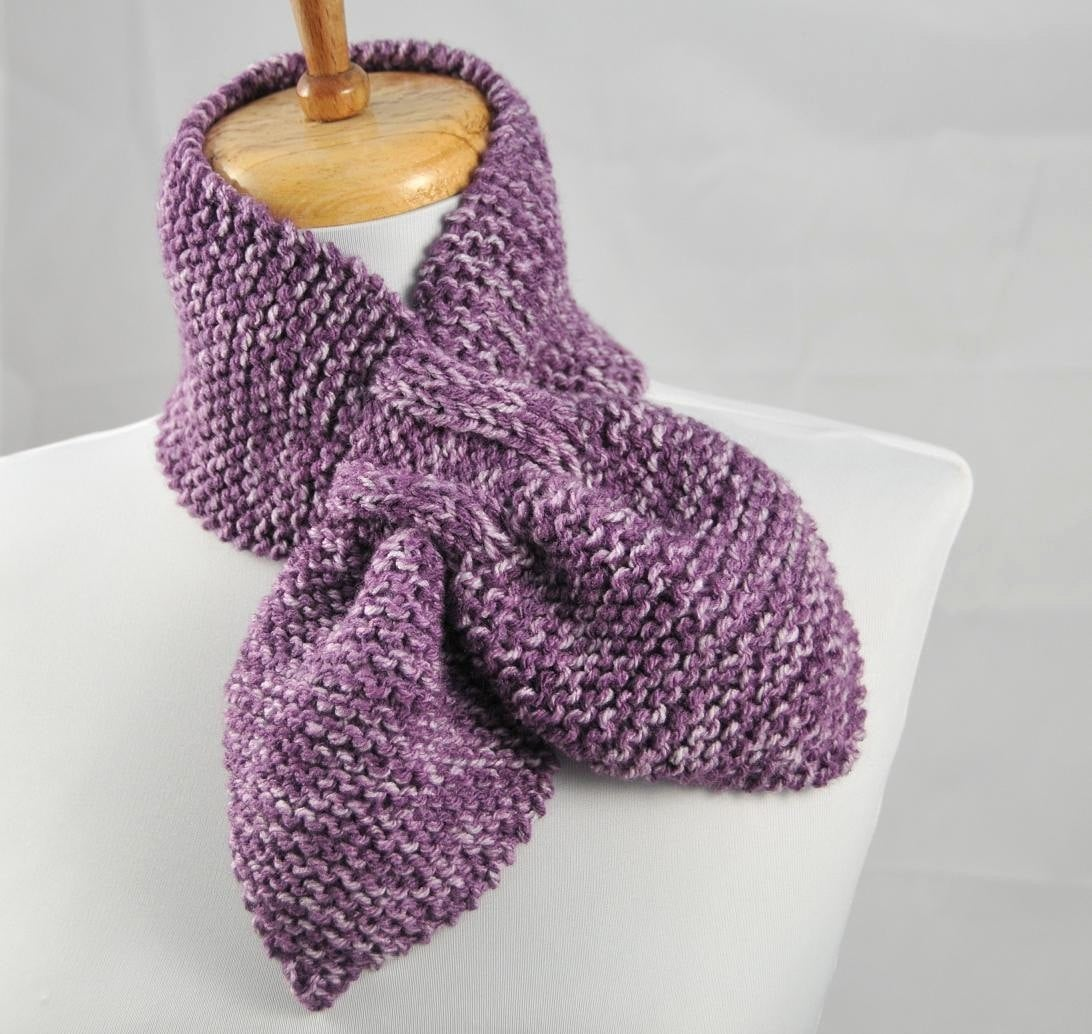 Knitting Pattern Keyhole Scarf : Hand Knit Keyhole Scarf In Purple The Original Stay by ...