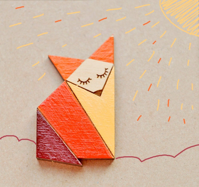 Wood Laser cut Brooch Orange Origami Fox - TheTwentyFingers