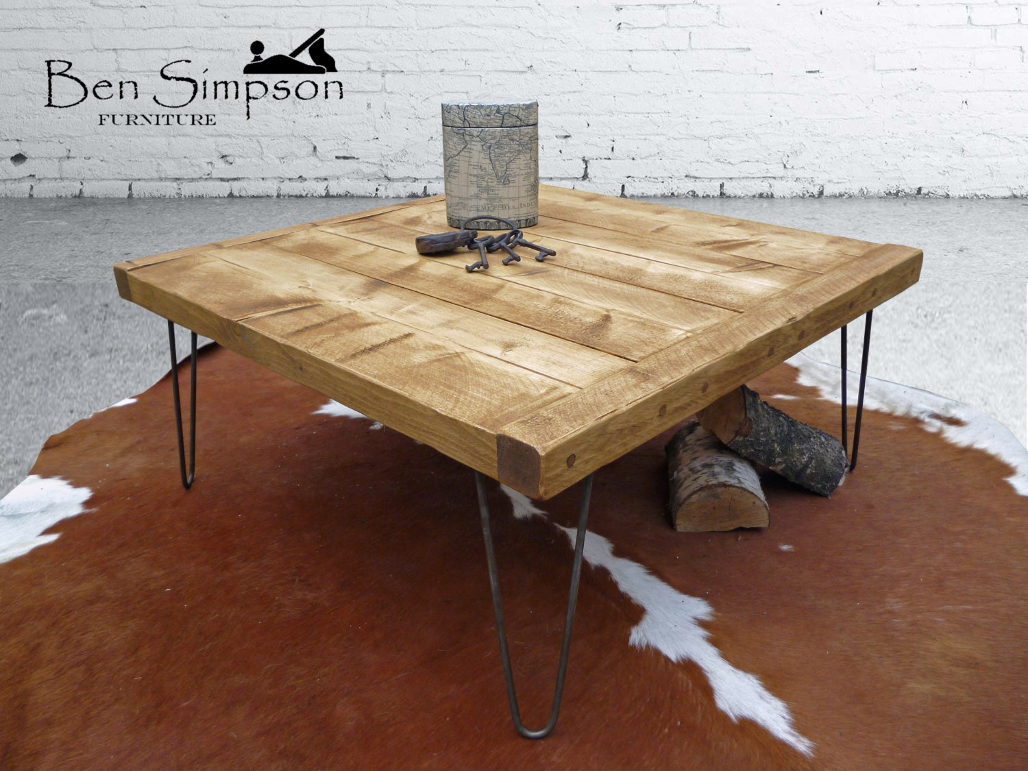 Rustic Square Wooden Coffee Table Industrial Metal Hairpin Legs Chunky Handmade Height 45cm SCT45