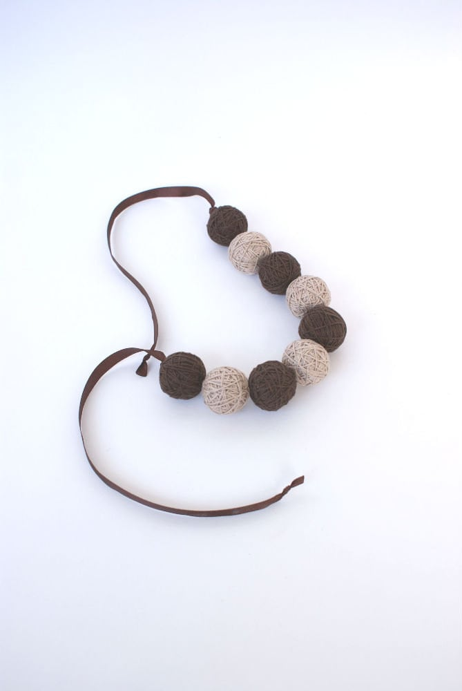 Brown beads handmade balls bracelete thread cotton for women lace textile natural - BallClub