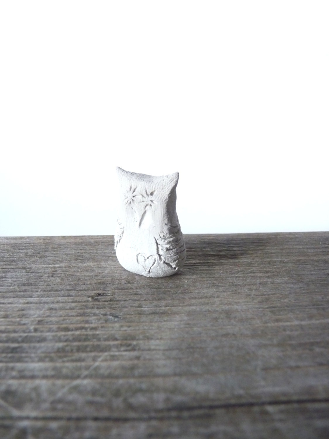 Clay owl miniature sculpture - WillowandQuail