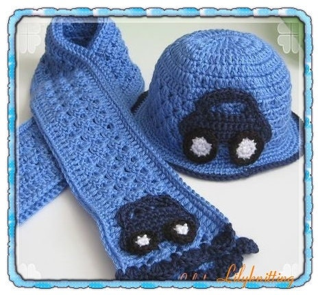 Crochet Pattern Baby Scarf : PATTERN in PDF crocheted baby scarf with a car by LilyKnitting
