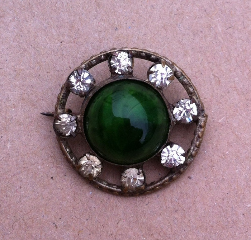 Vintage 1920s art deco green malachite and paste crystal brooch pin antique vintage retro jewellery jewelry