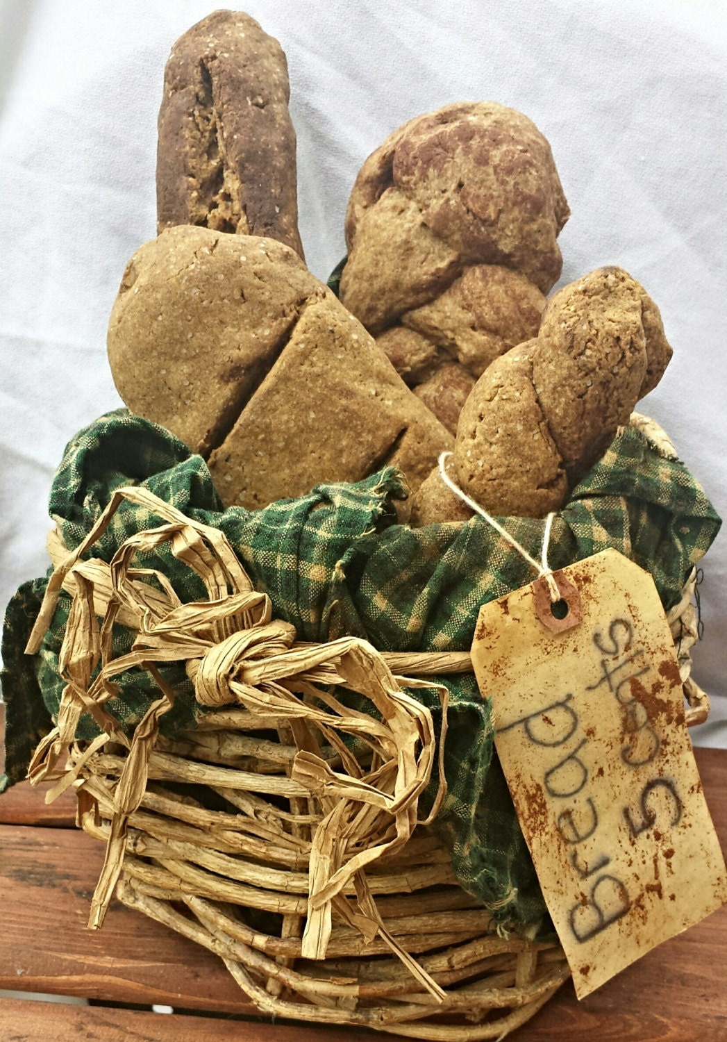 Primitive Fake Bread Loaves in a Rustic Basket With Grungy Homespun  - Basket of Scented Bread Loaves - Country Decor Bread Basket - everythingdawn