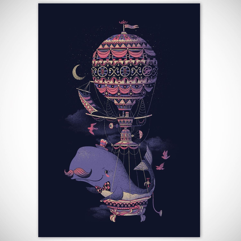 Whale Poster Print, Balloon Print, Mustache Print, Vintage Wall Decor Steampunk Poster, 18 x 24 Art Print - FuzzyInk